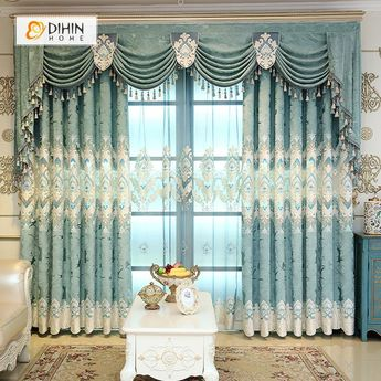 DIHIN HOME Blue Velvet Luxury Exquisite Embroidered Valance ,Blackout Curtains Grommet Window Curtain for Living Room ,52x84-inch,1 Panel
