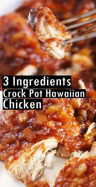 3 Ingredient Crock Pot Hawaiian Chicken   Moms Recipes #crockpot #crockpotrecipes