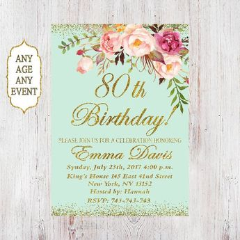 80th Birthday Invitation Women Floral Mint 50th