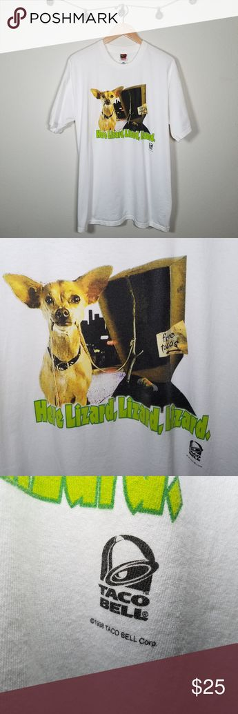 """Vintage 1998 Taco Bell Dog Godzilla Ad Shirt XXL ⚡ This shirt is making me hungry. Vintage 1998 Taco Bell graphic tee from a commercial promo run with the 1998 Godzilla movie. Chihuahua is baiting Godzilla on the front and realizing his mistake on the back. Printed on a Fruit of the Loom shirt. Small hole on back above graphic as seen in photo #5. ⚡  Approximate Flat Measurements: · Chest: 23"""" · Length: 31"""" · 100% Cotton Vintage Shirts Tees - Short Sleeve"""