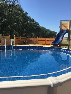 Beachy Pool deck with slide by alyson