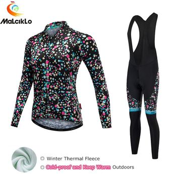 f8ffe405f Malciklo 2018 Color Spots Thermal Fleece Winter Cycling Clothing Women Bike  Bicycle Clothes Pro Team Cycling