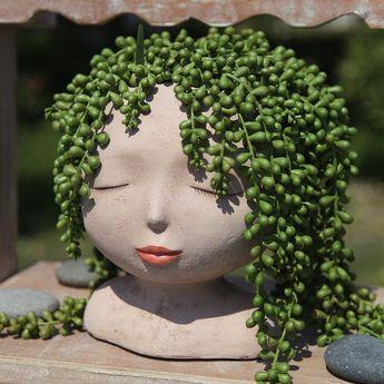 Female Head Design Succulents Plant Pot/Cactus Planter Indoor Outdoor Resin Planter, Cute Plants Flower Pot