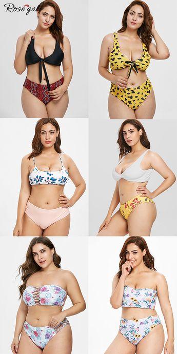 Maillot de bain deux piece Bikini pour femmes de grande taille #Rosegal #maillot de bain #vacances