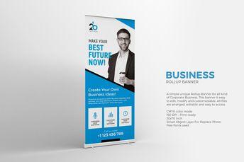 Business Roll-up Banner Template PSD