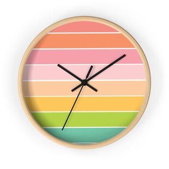 Pastel Stripe Wall Clock