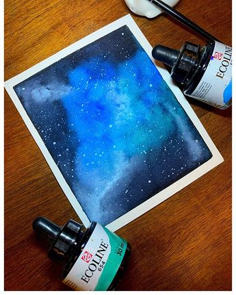 The obsession with nebula paintings continues. And Ive established Im good with nebula paintings with @royaltalensau Ecoline watercolors. Theyre definitely trickier to work with! Im working on a process video (it will take some time!) so hopefully you all can watch my clumsy ass in action. #nebulapainting #watercolorgalaxy #galaxypainting #calligraphy #lettering #handlettering #prettyhandwriting #handletteringpractice #letteringdaily #moderncalligraphy #blendingcolors #dailylettering #dailylette