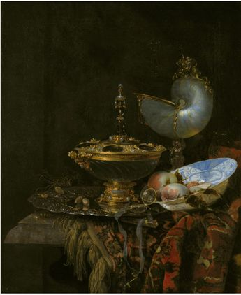 Pronk Still Life with Holbein Bowl, Nautilus Cup, Glass Goblet and Fruit Dish   Willem Kalf   1678   Statens Museum for Kunst   CC0