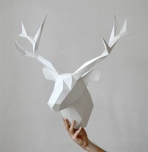 White Animal Paper Heads for Interior Decoration by Gizmo