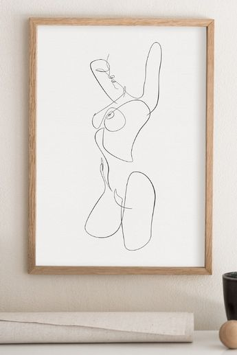 Naked Woman Printable Wall Art, Abstract Nude Sketch, One Line Art, Female Line Drawing, Nudeart Erotica, Feminine Fine Art, Tumblr Decor