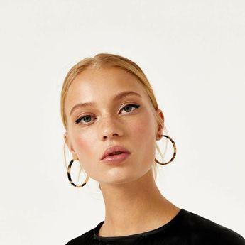 Tortoiseshell Resin Earrings   Large Hoop Earrings   Acrylic Dangle Earrings   Statement Abalone Ear