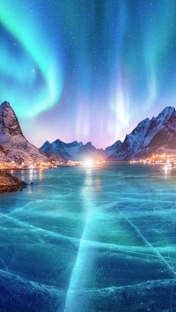 Polar Lights Sky Aurora iPhone Wallpaper