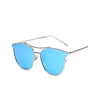 55e148af70 GAMT Aviator Sunglasses Polarized for Women and Men With Cateye Flat Lens  SilverIce Blue