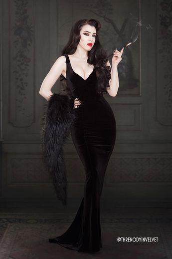 Laura Byrnes California Gilda Gown in Black Velvet