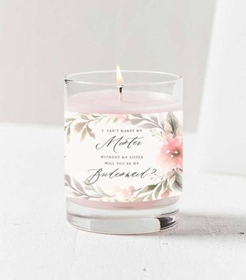 Bridesmaid Proposal, Will You Be My Bridesmaid? Custom Floral Candle Label Template, Maid of Honor,
