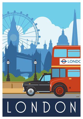 LONDRES. Impression d'art affiche chemins de fer de London Bus & Taxi. A4, A3, A2 dans la conception de style rétro, Art déco