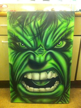 My finished 'Hulk' canvas. This is my interpretation of the magnificent Dale Keown's Hulk drawing.
