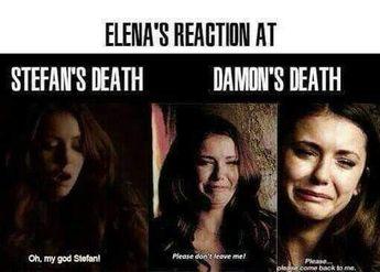 Elenas reaction at stefans death vs damons death