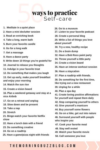50 Simple Ways To Practice Self-Care