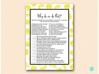why do we do that wedding tradition quiz yellow lemon bridal shower game