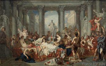 Kunstdruck Die Römer in der Verfallszeit von Thomas Couture auf Feinleinen