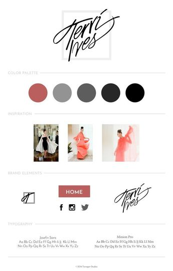 website design style guide couture fashion Terri Ives couture #branding #color #logo #logodesign #couture #moodboard