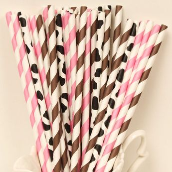 Items similar to Paper Straws, MADE IN USA, Cowgirl Party Paper Straws, Pink Paper Straw, Cow Paper Straws, Farm Party, Baby Shower, Paper Goods, Table Decor on Etsy