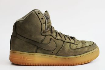 save off f3bd0 f71fd Nike Air Force 1 SZ 4 Youth High Top Dark Olive Green Sneaker Shoe  Excellent