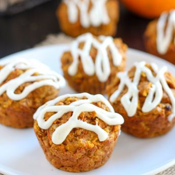 Healthy Pumpkin Carrot Apple Muffins - Similar to pumpkin bread and carrot cake, but healthier! Optional cream cheese drizzle.