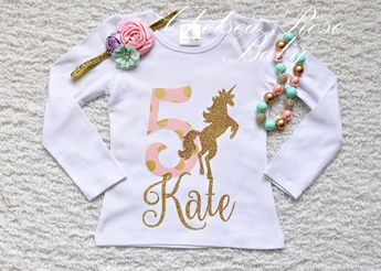Pink And Gold Unicorn Birthday Shirt Personalized Outfit Girls