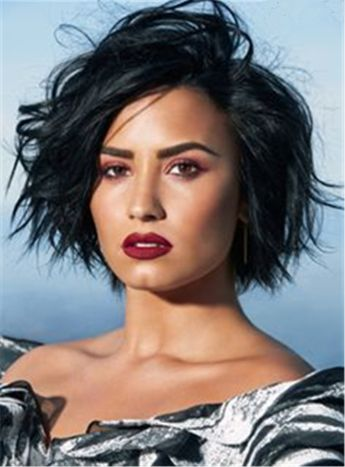 Demi Lovato Short Pixie Hairstyle Straight Human Hairs Lace Front Cap African American Women Wigs 8 Inches