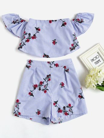 551dc505f4 AdoreWe - SheIn Flower Embroidered Flounce Bardot Top And Shorts Set -  AdoreWe.com