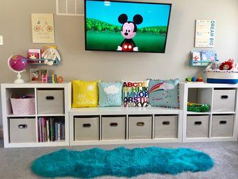Kids play room, cube storage, organized playroom