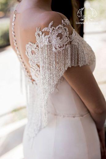 Mermard wedding dress slinky, silk train, tight skinny, embroidery silver decor, fringe, lowered bar