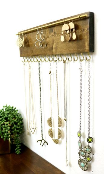 Jewelry Organizer Necklace Holder - Wall Mounted Rustic Wood, Necklaces, Earrings