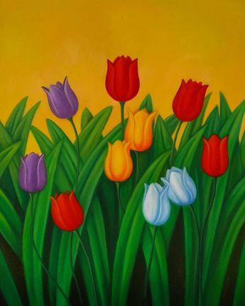Gambar Lukisan Bunga Yang Mudah Ditiru Cikimm Com