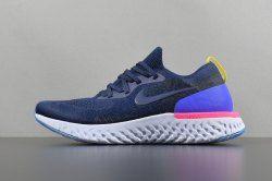 178e84838e79 New style Nike Epic React Flyknit Black Racer Blue Men s Women s Running  Shoes AQ0067