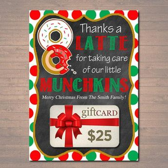 image about Thanks a Latte Christmas Printable identified as PRINTABLE Xmas Present Card Holder Due A Latte - INST