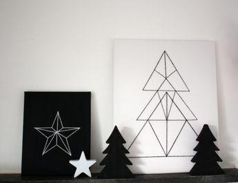 papier sticken geometrische form rahmen besticken tannenbaum stern mal anders wolle canvas rahmen schwarz weiss weihnachten