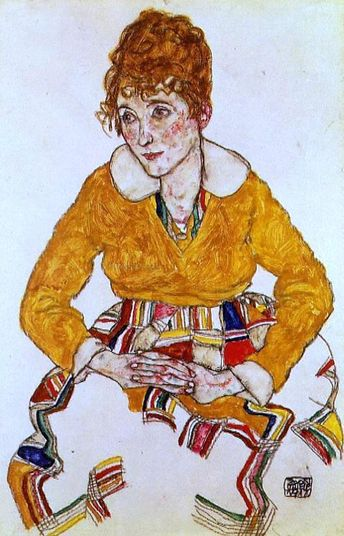 Portrait of the Artist's Wife by Egon Schiele - Hand Painted Oil Painting