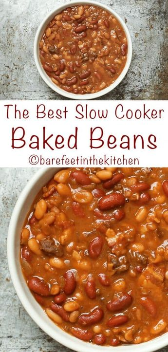 The very BEST Crockpot Baked Beans are a reader favorite! get the recipe at barefeetinthekitchen.com