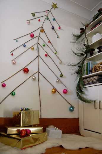 This is an excellent idea for a small place with no space for a Christmas tree.