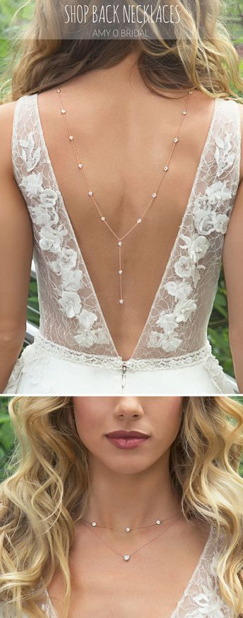 Rose Gold Bridal Back Necklace paired with Flora Anna dress   bridal jewelry, bridal necklace, wedding jewelry, rose gold jewelry