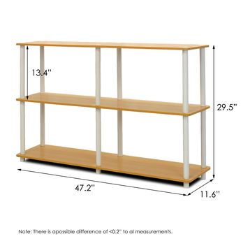 Furinno 99130BE WH TurnNTube 3Tier Double Size Storage Display Rack Beech White