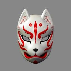Japanese Fox Mask Demon Kitsune Cosplay STL File