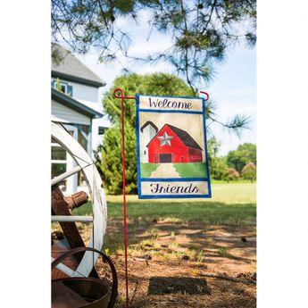 Country Patriotic Barn Burlap Garden Flag