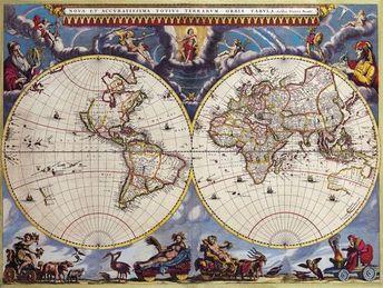 Digital Vintage Maps - World Double Hemisphere Map Joan Blaeuc 1662 - Instant Download - High Resolution - Printable Art Poster
