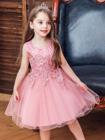 Flower Girl Dresses Jewel Neck Sleeveless Lace Kids Social Party Dresses