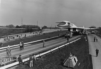 The North American XB-70 Valkyrie moves from the Air Force Museum at Patterson Field down State Route 444 to the new home at historic Wright Field during 1970-71.
