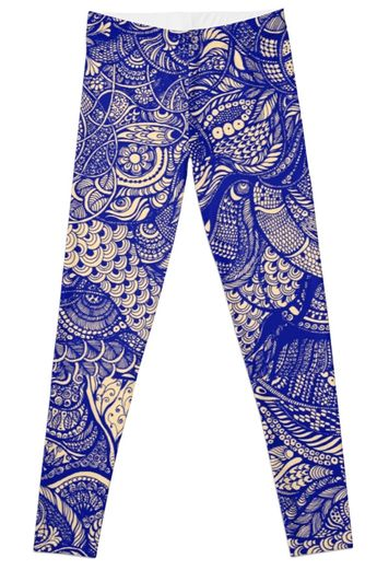 Hand drawing purple and yellow zentangle pattern  Leggings by kanvisstyle.   398d17ea1